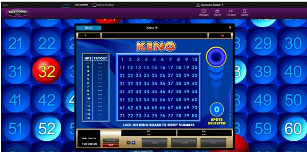 Jackpot City Keno game