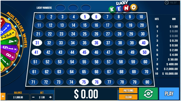 Rules to play online keno game
