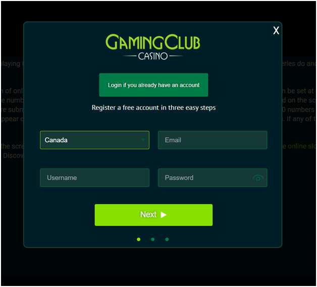 How to get started at Gaming club casino