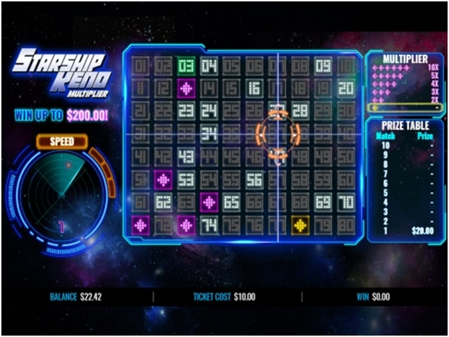 About the game Starship Keno Multiplier