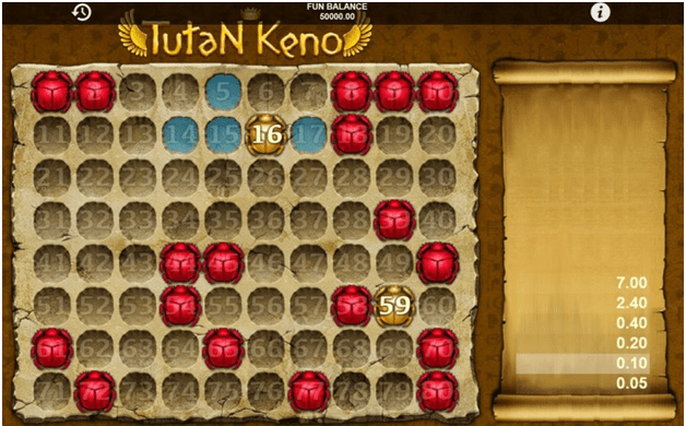 Tutan keno free game to play