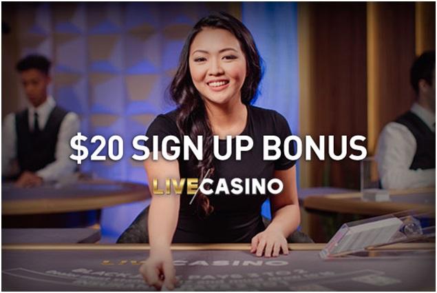 $20 sign up live casino bonus