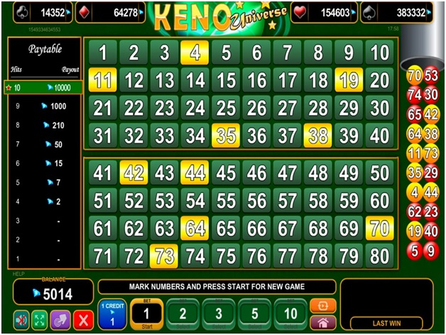 Wagers and Bets Keno Universe at online casino
