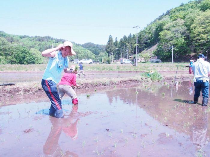 飯舘村で田植えに参加