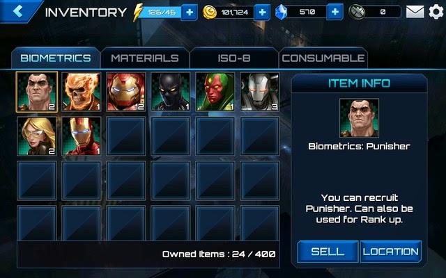 Find Biometric location of Marvel superheroes via Inventory