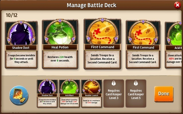 Manage Battle Deck