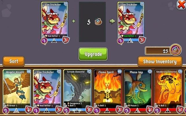 Upgrade cards that develop skills