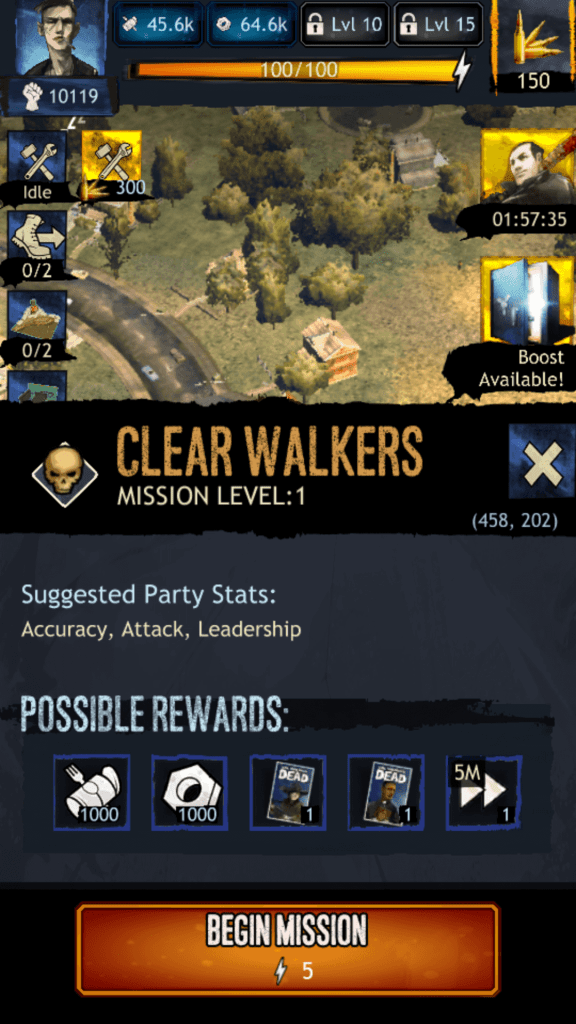 Clearing Walkers Mission Stats