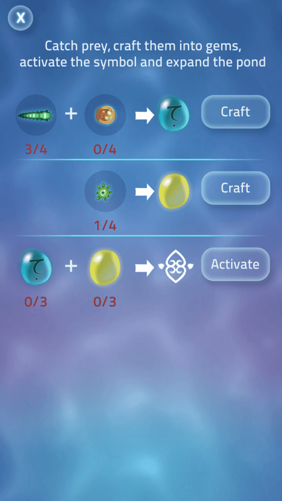 Craft Prey to Get Gems and Activate Symbol to Expand Pond