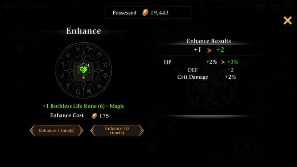 Enhance runes to improve stats
