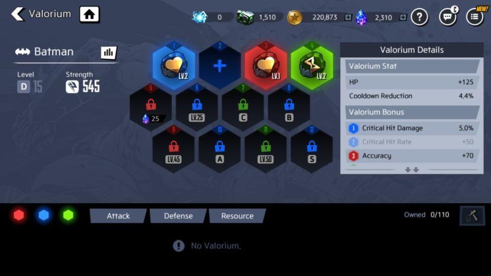 Equip Valorium of the Same Color to Get Bonus Effects