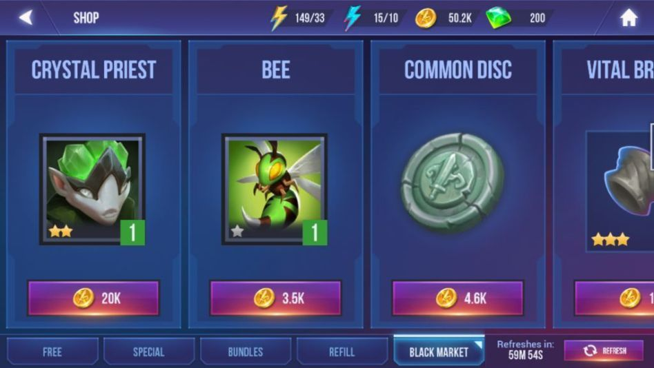 Get Discs and Characters at the Black Market