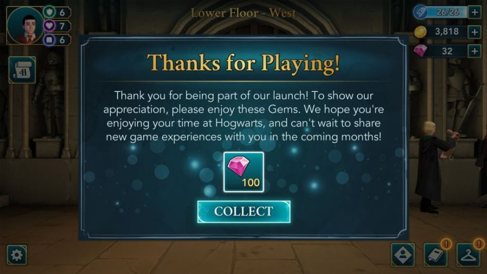 """Get 100 gems as a """"Thank You"""" from game developers."""