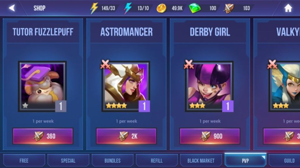 Use Battle Emblems to buy Champions