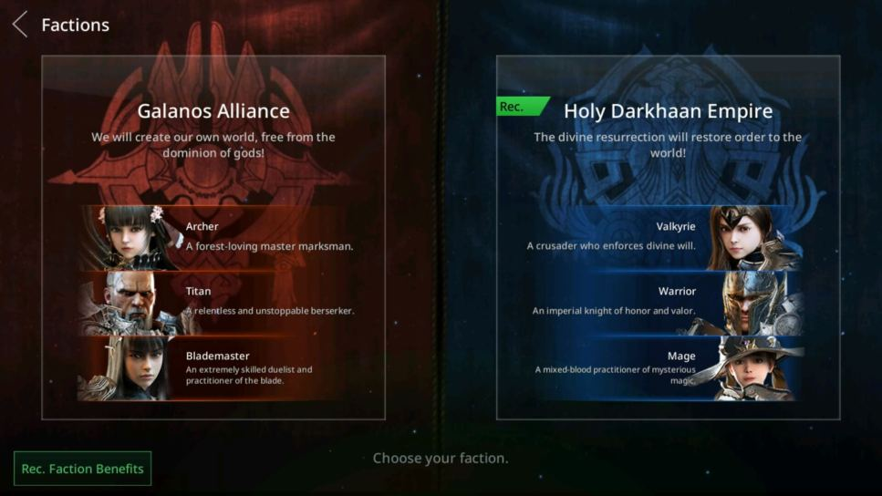 Select the Recommended Faction to get Rewards