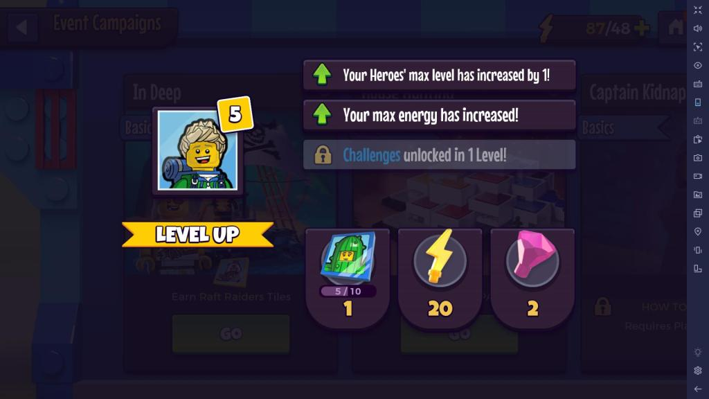Level up to get tiles