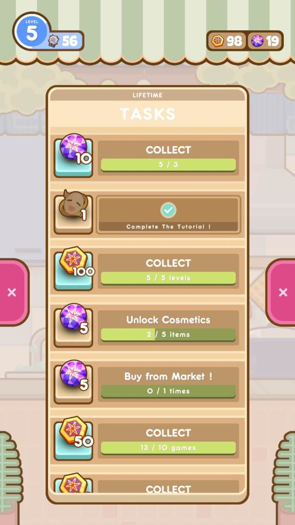 Acquire gems and coins from tasks