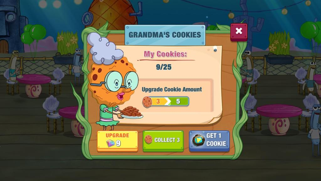 Grandma's Cookies to increase happiness bar.