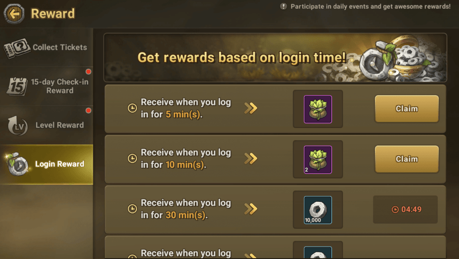 Claim login rewards to get vitality