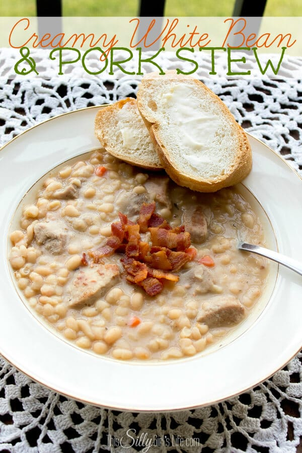 Creamy white bean pork stew from This Silly Girl's Life