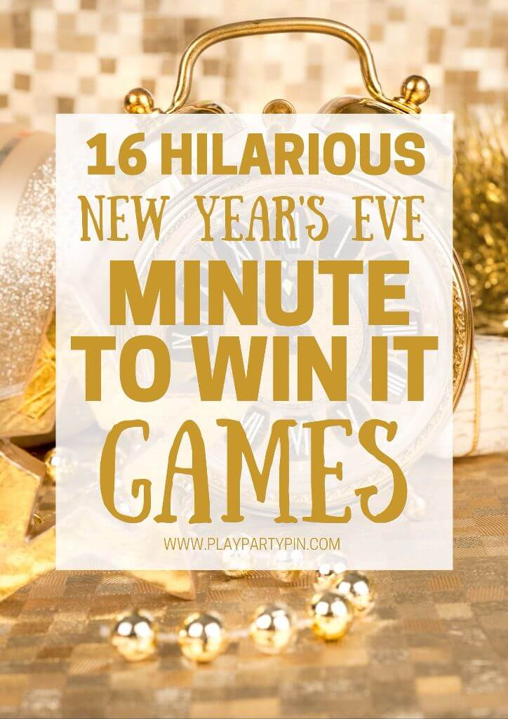 16 hilarious minute to win it games that are perfect for a New Year's Eve party! Tons of great New Year's Eve party games including some of the best New Year's Eve games I've ever seen. I can't wait to try #12!