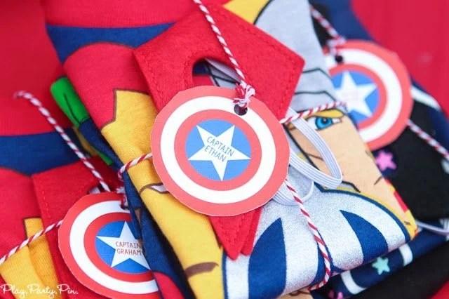 Superhero costume station idea from playpartyplan.com