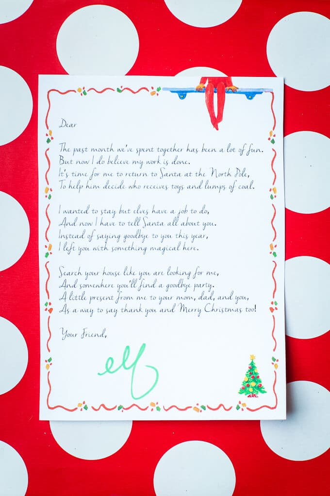 Free printable Elf on the Shelf goodbye letter and invitation to a fun Elf on the Shelf goodbye party. Tons of cute Elf on the Shelf goodbye ideas and other Elf on the Shelf ideas!