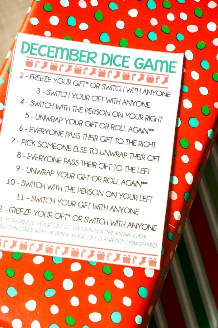 December dice gift exchange game