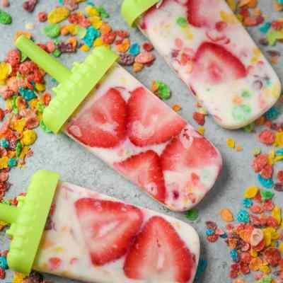 Fruity Pebbles Funfetti Cereal Popsicles