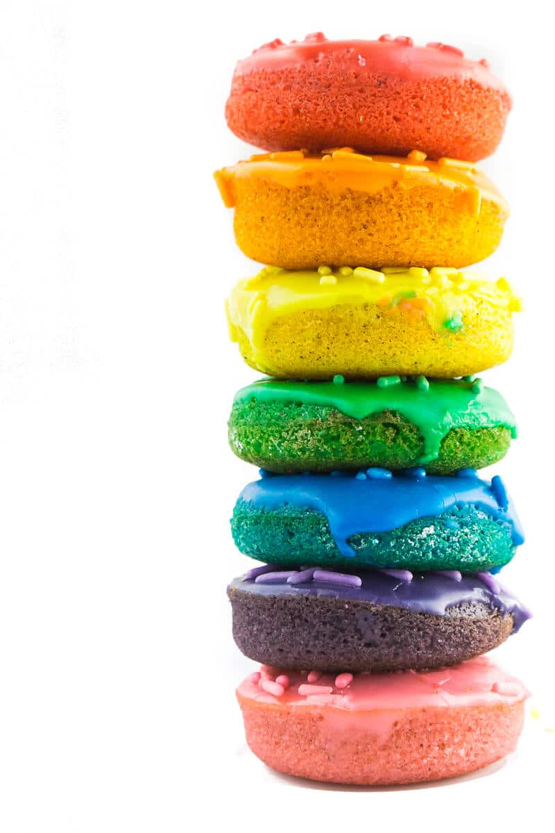 A Rainbow Colored Baked Donut Recipe | How to Make Rainbow Donuts