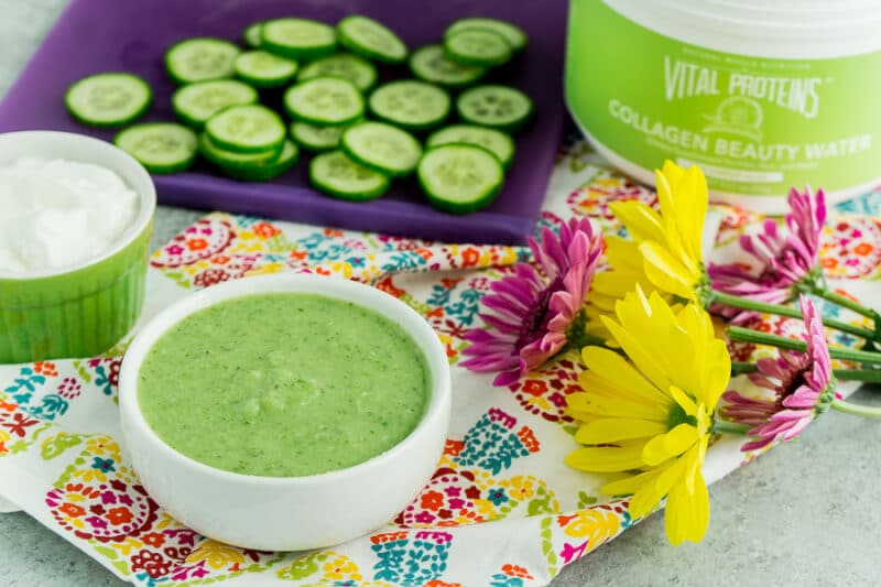 This homemade face mask uses things from home like cucumber and honey!