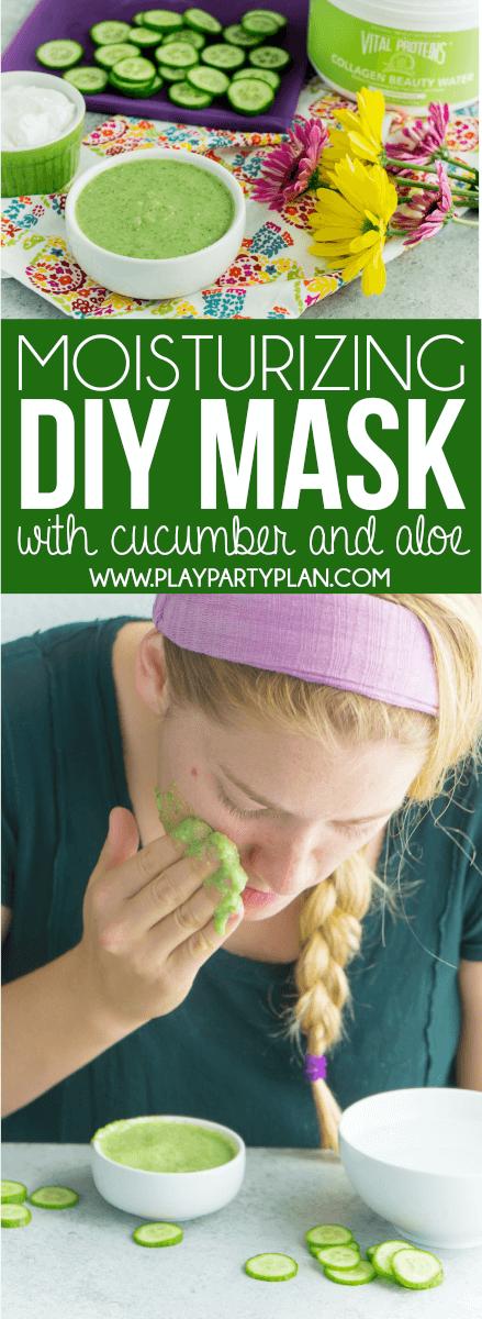 Simple DIY face mask using cucumber, yogurt, and honey!