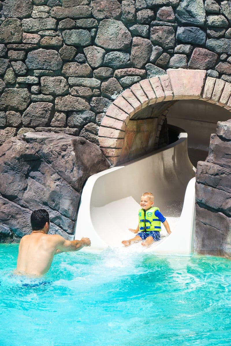 Don't miss the fun water slide at Loews Portofino Bay Hotel