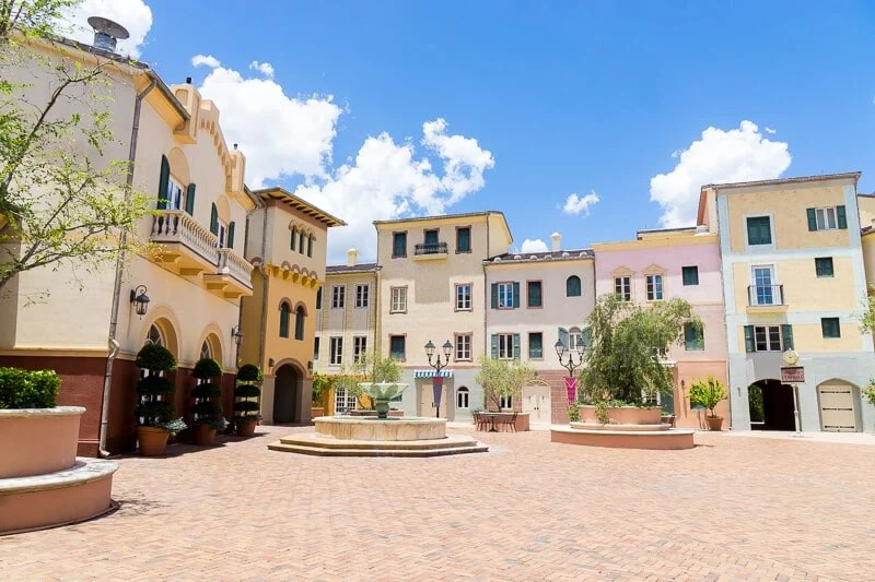 The courtyard at Loews Portofino Bay Hotel is perfect for relaxing
