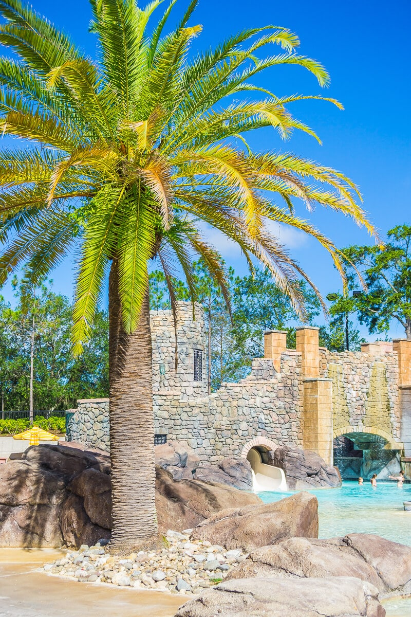 Beautiful palm trees line the pools at Loews Portofino Bay Hotel