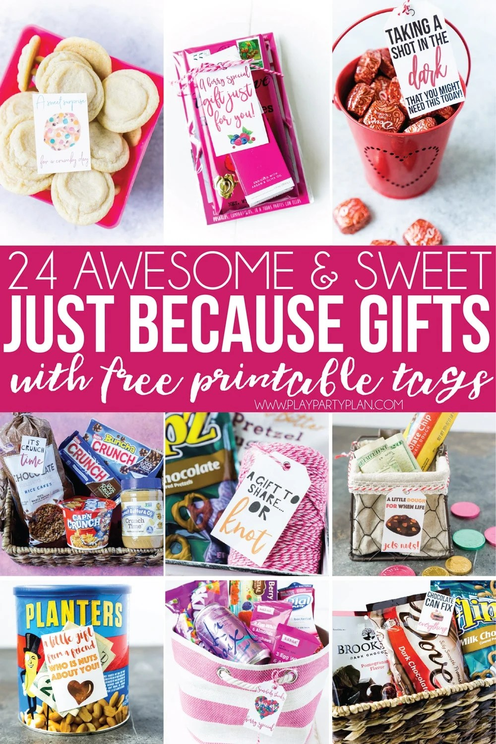 Just because no occasion gift ideas and free printable gift tags