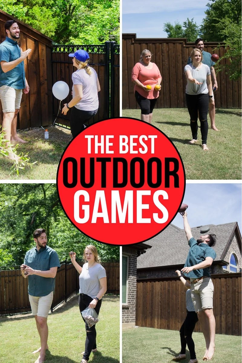 A collage showing the best outdoor party games