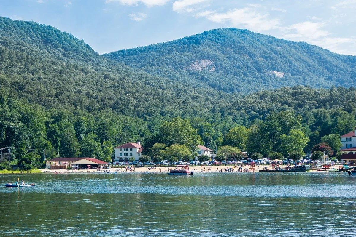 A picture of the Lake Lure beach from afar