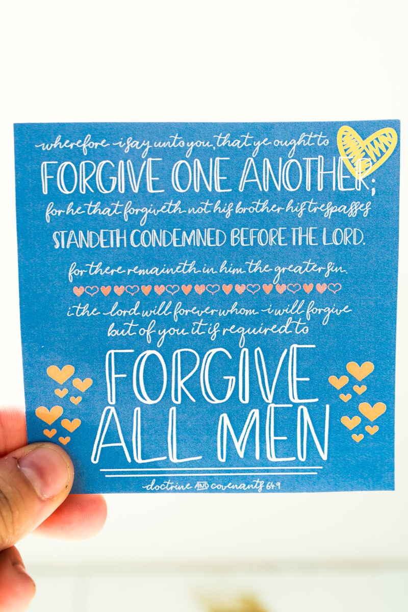 Handouts for a forgiveness lesson and quote about forgiveness.