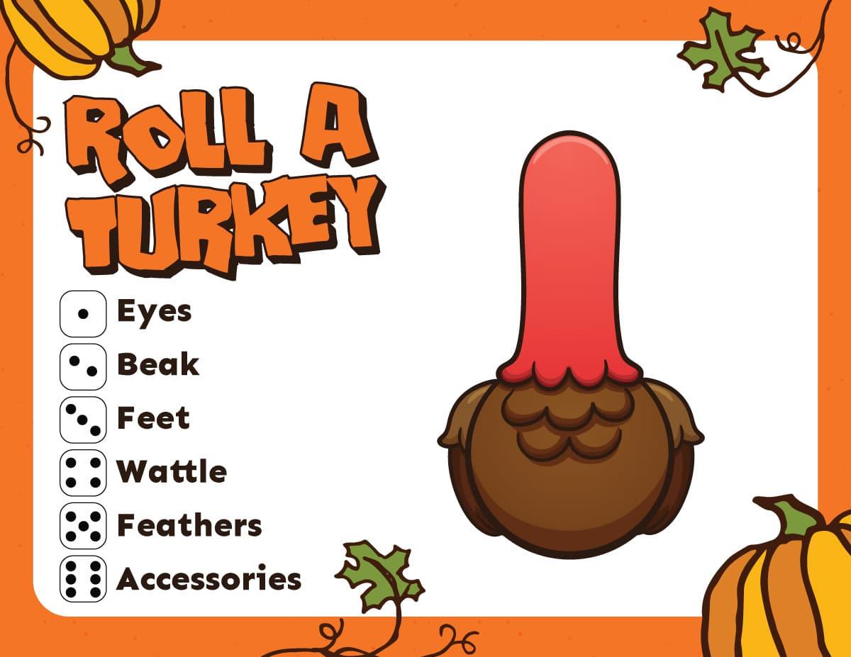 Free Printable Roll A Turkey Game
