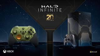 Xbox Series X et pad Xbox Elite Series 2 aux couleurs d'Halo Infinite