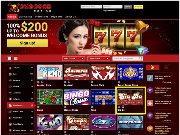 Mongoose Casino Sic Bo
