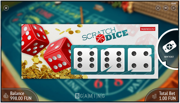 Scratch Dice Game Screen