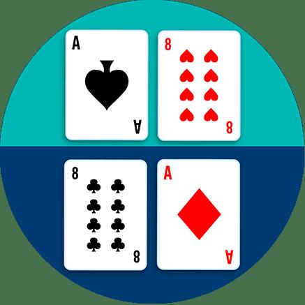 一張桌子被分為上下兩邊,上邊桌上有一張黑桃A和一張紅心8;下邊桌上有一張梅花8和一張方塊A