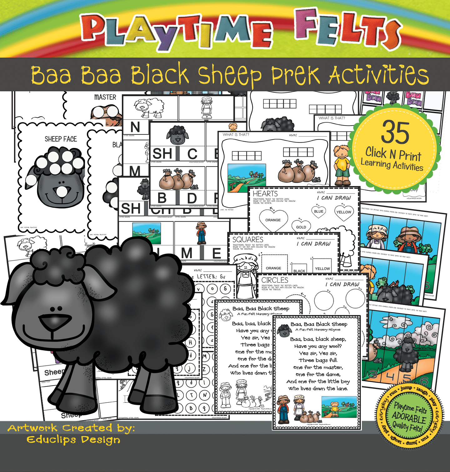 Baa Baa Black Sheep Activity Worksheets For Preschool By Playtime Felts