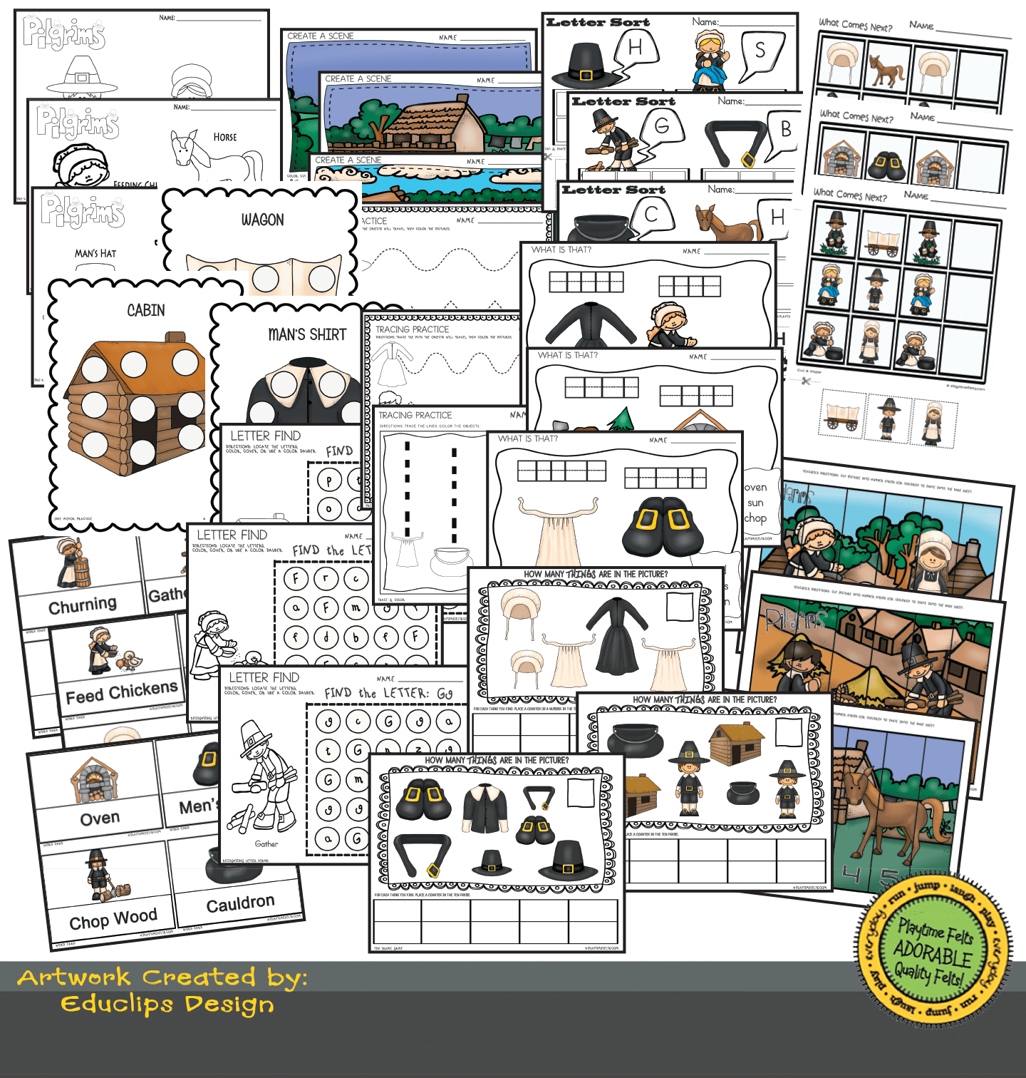 Pilgrim Chores Prek Worksheets For Home Or Classroom