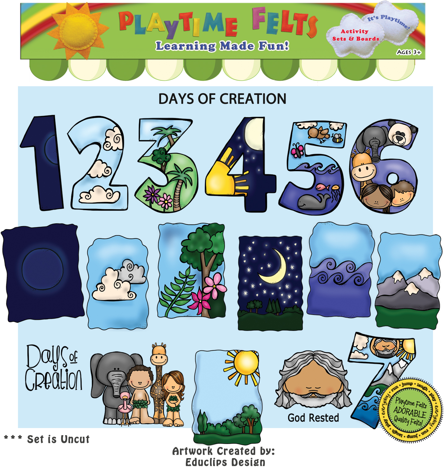 Days Of Creation Bible Felt Story For Preschoolers