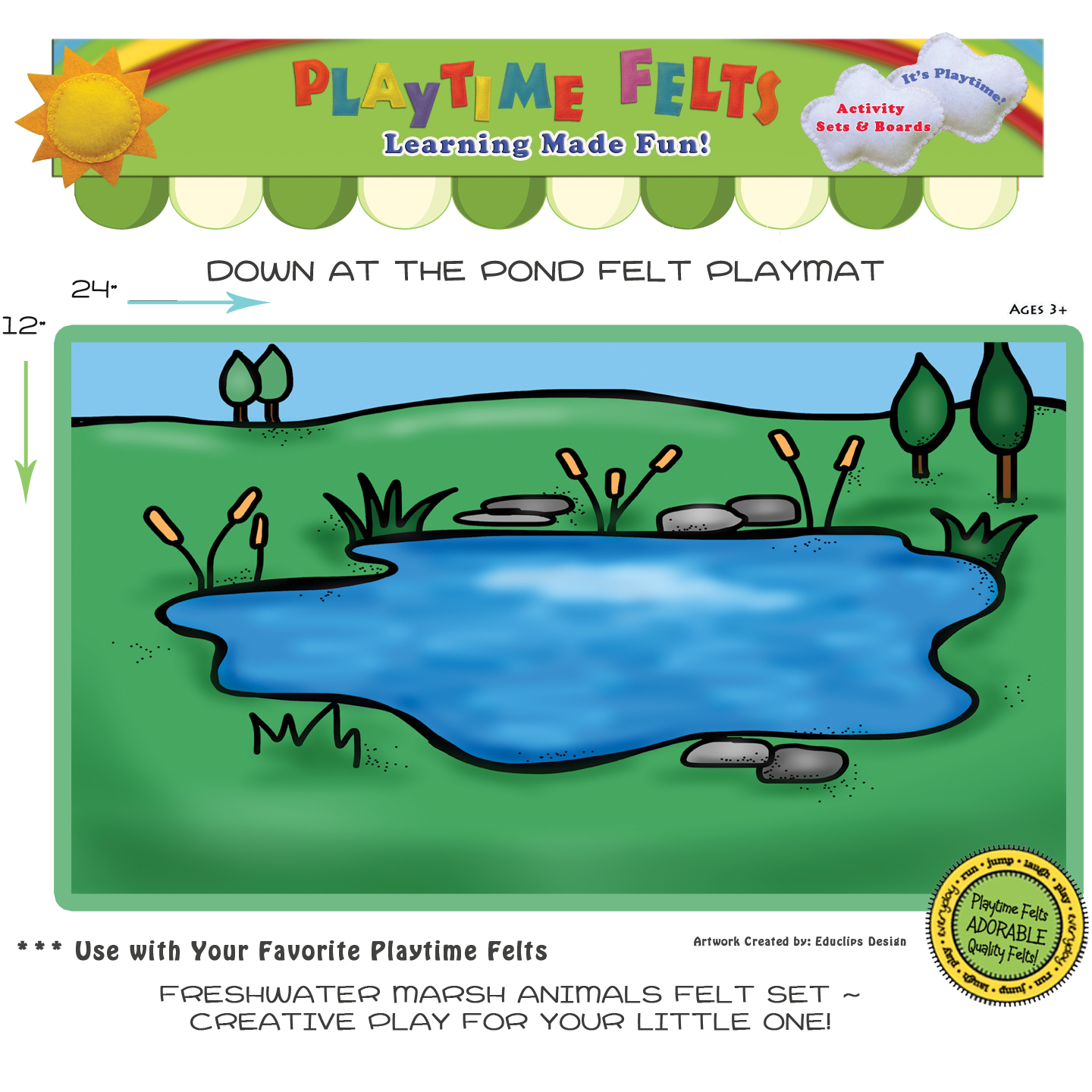 Down By The Pond Felt Playmat