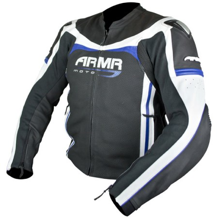 Armr Moto Raiden Leather Motorcycle Jacket Black/Blue