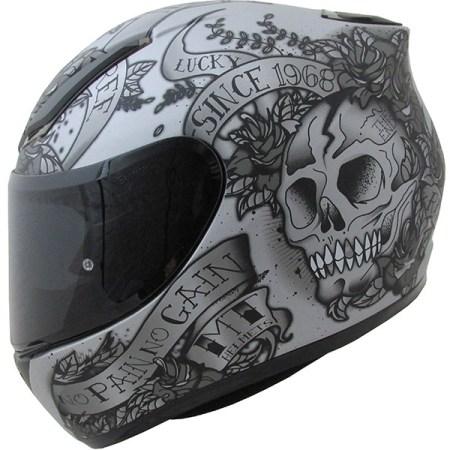 MT Revenge Skull & Roses Motorcycle Helmet Matt Grey